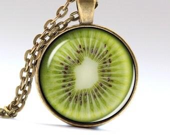 Kiwi Necklace Fruit Pendant Tasty Jewelry  Kiwi Pendant Kiwi Jewelry Fruit Necklace Fruit Jewelry Tasty Necklace Tasty Pendant LG468