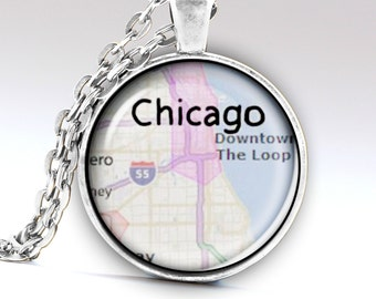 Chicago Necklace, Chicago Jewelry, Chicago Pendant, Chicago Map, Chicago City, Illinois Necklace, Illinois Pendant, LG550
