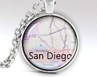 San Diego Necklace, San Diego Pendant, San Diego Jewelry, San Diego Amulet San Diego City, US San Diego, Necklaces, Pendants LG553