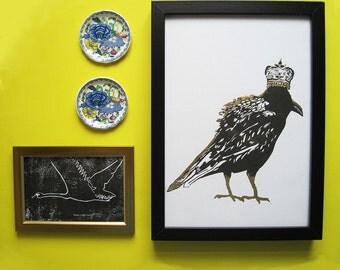 Richard III Hand Cut Crow Lino Print