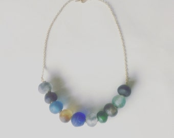 Recycled glass statement necklace