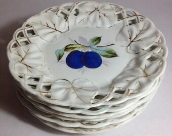 Beautiful Vintage Lattice Edge Plates - Hand Painted Fruit - Set of 5