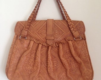 Vintage Tooled leather bag 70s morrocan