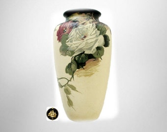 Weller Hudson tall art pottery vase with roses - ca 1920s