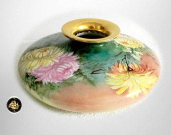 P H Leonard Austria art pottery squat vase with flowers - circa 1890