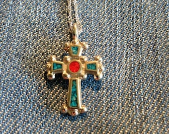 Vintage Turquoise and Corral Cross Pendant