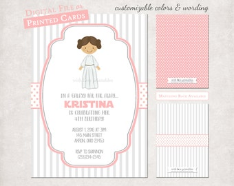 Star Wars Princess Leia Photo Birthday Baby Shower Invitations | Custom Design | Digital File Print Your Own JPG Printable Girl Stationery