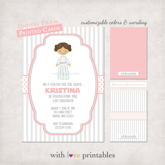 star wars princess leia photo birthday baby shower invitations