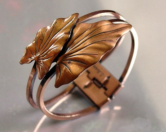 Vintage 1950s RENOIR Copper Hinged Cuff Bracelet | Mid CenturyBypass Leaf Clamper Bracelet