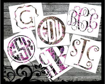 "3"" tall ""Muddy Girl Camo or Pink Mossy Oak Inspired"" Monogram Decal - Initals; vinyl decals; camoflauge car decal; cute camo"