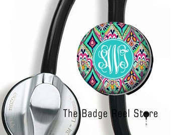 Stethoscope ID Tag,  Monogrammed, Initials, Stethoscope, Preppy Jewels