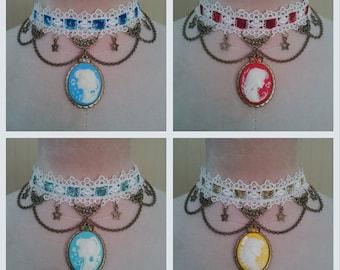 Sailor Moon Scout Triumph Cameo Lace Choker Necklace (4 versions: Mercury, Mars, Jupiter, Venus)
