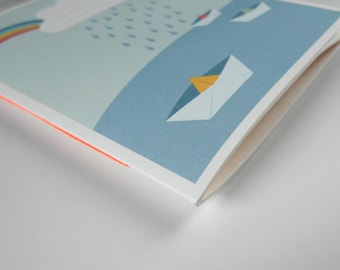 """Notebook - Laptop - sketchbook """"Paper boats"""""""