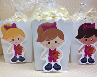 Basketball Party Popcorn or Favor Boxes - Set of 10