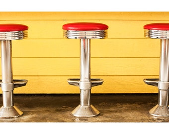 Retro Photography, vintage, Art Deco Print, Classic Chrome Diner Stools, decor, Fine Art Photography -  Three For Lunch