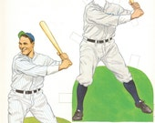 MLB Baseball Paper Doll : Lou Gehrig New York Yankees Book Print Wall Art Deocr