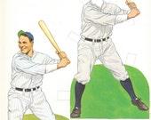 MLB Baseball Paper Doll : Lou Gehrig New York Yankees Book Print Wall Art Deocr