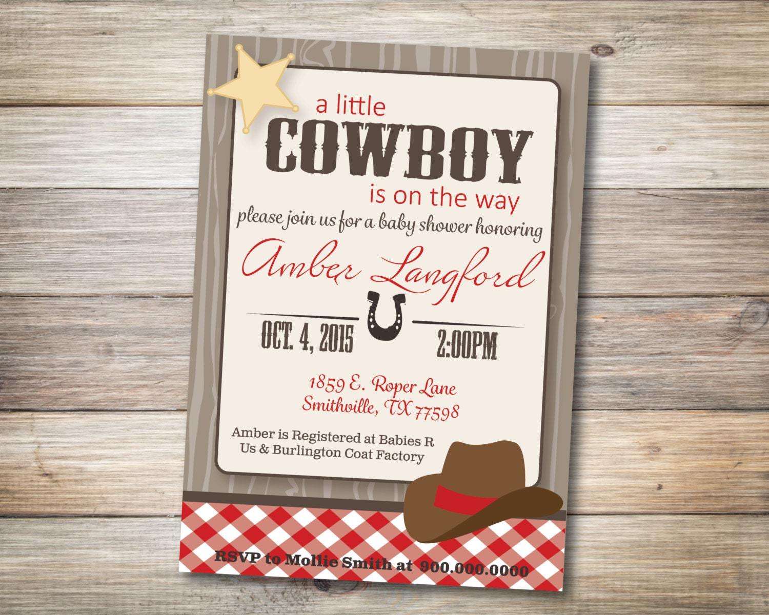 cowboy baby shower invitation digital download