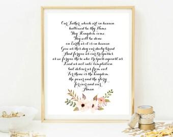 The Lord's Prayer Print, Bible Verse Print, Lord's Prayer Print, Scripture Art, Christian Art