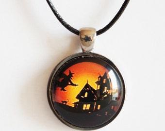 Halloween witch necklace Halloween pendant Halloween jewelry Halloween witch necklace Halloween pendant Halloween jewelry Gothic Pendant