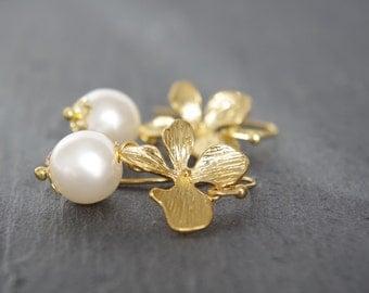 Gold orchid earrings Flower earrings Gold floral earrings White pearl Bridesmaid earrings Bridal earrings Wedding drop earrings Christmas