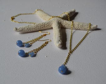 Sky Blue Lariat Necklace and Earring Set