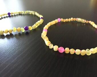 Baltic Amber Teething Necklace - RAW LEMON