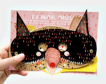 Illustrated Kid's Animal Mask's - Pretend Play - Dress Up - Party Mask's