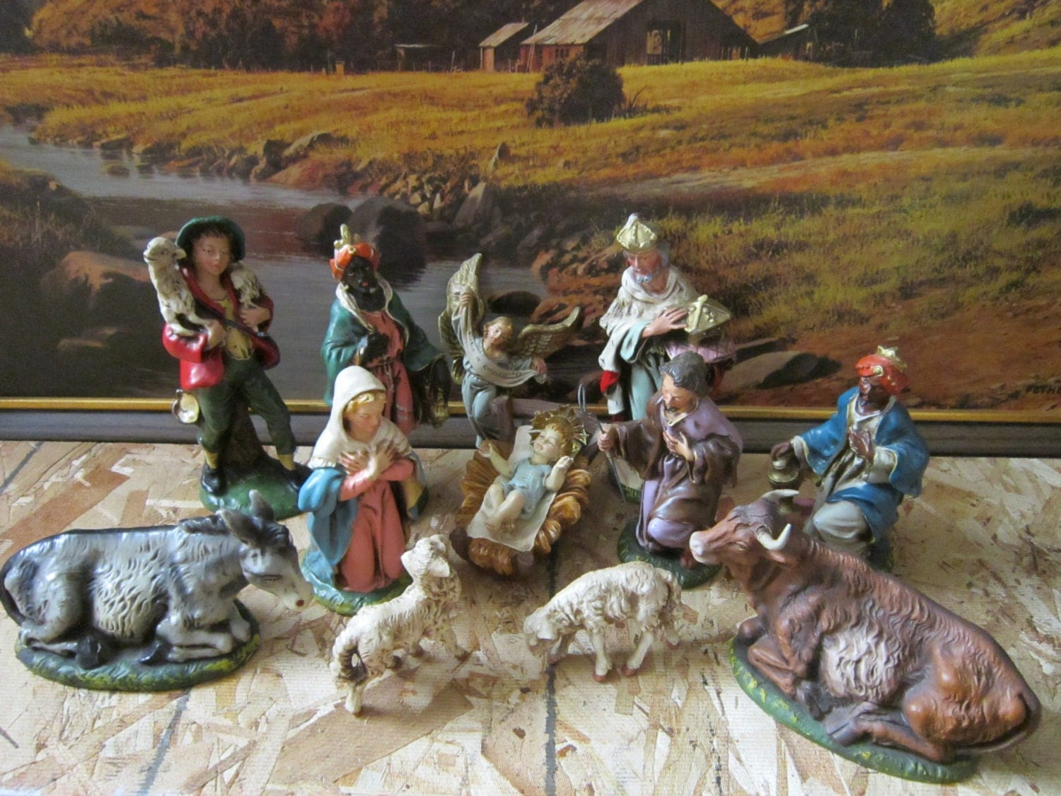 Large 12 Piece Paper Mache Nativity Set Made In Italy