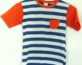 A Boy's Vintage 60's,Adorable Little Short Sleeve Striped Top By JC PENNEY.M