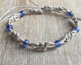 Blue Beaded Anklet, Natural Anklet, Hemp Anklet, Macrame Anklet, Hemp Bracelet, Beach Anklets, Handmade Jewelry, Macrame Bracelet  HA001085