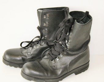 Leather Goth 80s Combat Lace up boots Vintage Black Leather Grunge Gothic Punk Boots Rock Boot EUR 39 (EUR)  7 (US Men)