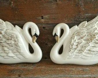 Vintage Chalkware Swans Wall Decor, Miller Studios Chalkware Swans Wall Plaques, Bathroom Decor