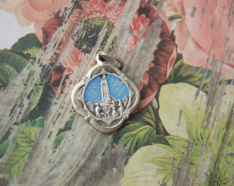 Our Lady of Fatima Virgin Mary with Sacred Heart of Jesus blue enamel 15mm vintage Catholic pendant medal