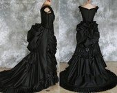 Taffeta Beaded Gothic Victorian Bustle Gown with Train ~ Vampire Ball Masquerade Halloween Black Wedding Dress ~ Steampunk Goth 19th century