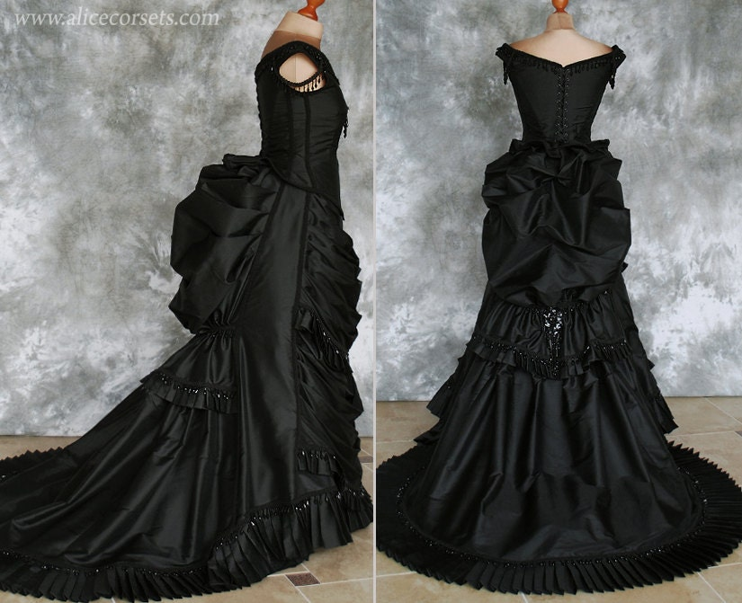 Bustle: Taffeta Beaded Gothic Victorian Bustle Gown With Train
