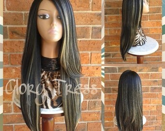 ON SALE// Long & Straight Ombre Lace Front Wig,  Ombre Black/Platinum Blonde Wig // POWER (Free Shipping)