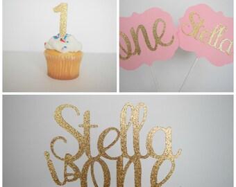 Gold & Pink Birthday Decor, Birthday Party Pack, Gold Glitter Birthday Decor, 1st Birthday Decor, Birthday Decor