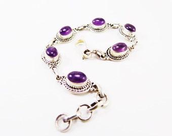 Beautiful Amethyst 925 Sterling Silver Bracelet Handmade Indian Jewellery Purple by AmoreJewels