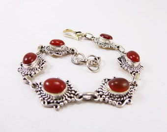 Beautiful Red Onyx 925 Sterling Silver Bracelet Handmade Indian Jewellery by AmoreJewels
