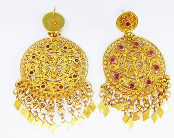 Beautiful Traditional Indian Gold Ruby Earring Handmade Amazing Push Lock 18 Carat by AmoreJewels