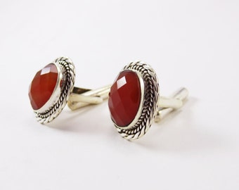 Marvelous Red Onyx Facted Sterling Silver 925 Handmade Cufflinks Mens Jewellery by AmoreJewels