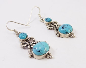 Beautiful Turquoise 925 Sterling Silver Handmade Earring Indian Jewellery  by Amorejewels