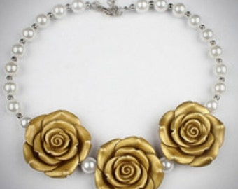 Rose Trio and Pearls Birthday/Special Occasion Necklace
