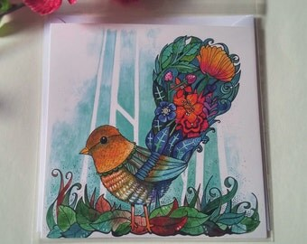 Beautiful Bird with a Tail of Flowers - Blank Greetings Card