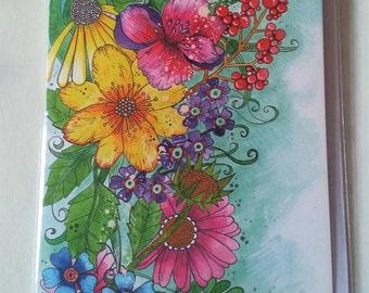 Pretty multi-coloured flowers - Blank Greetings Card