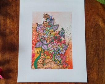 Watercolour, pen and promarkers print of flowers 10 x 8 inch