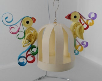 Cage and parakeets in quilling, handmade, paper art 3d, newfound freedom,