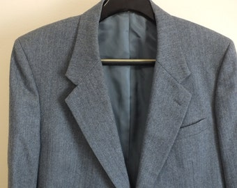 Men's suite jacket size R 42, 100% wool custom tailored gray striped