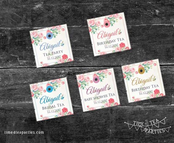 Pink floral tea bag tags bridal tea baby shower kitchen tea